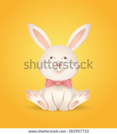 Sitting rabbit with a red bow on a yellow background. Vector illustration.