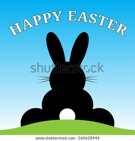 sitting smiling back Easter bunny with suit and text under blue sky - stock vector