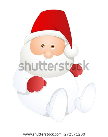Sitting White Santa Claus Vector