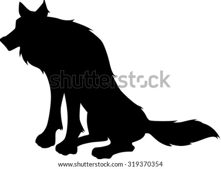 Sitting wolf silhouette - stock vector