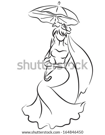 Sitting young girl with umbrella. Wedding theme, bride. Monochrome picture / Bride with umbrella  - stock vector