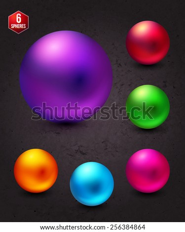 Six Attractive Shiny Colorful Spheres on Abstract Gray Background, Emphasizing the Sphere in Violet. Vector illustration. - stock vector