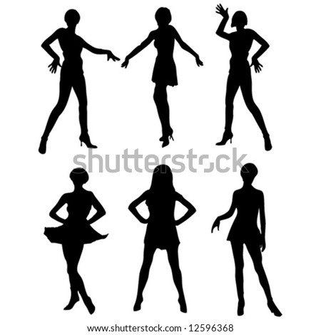 six beautiful womans vector silhouette - stock vector