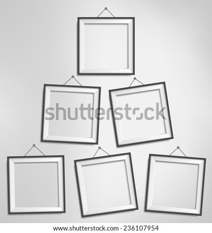 Six black modern blank frames isolated on grayscale background - stock vector