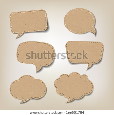 Six Cardboard Speech Bubbles for Web or Print. - stock vector