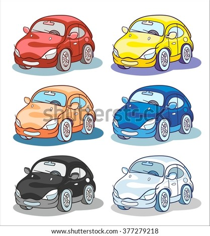 six cartoon cars in different color palettes - stock vector