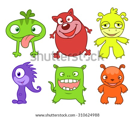 Six cartoon cute and silly monsters.  Set two.