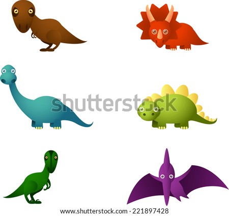 Six Cartoon dinosaur set, with six different dinosaurs in different colors: brown dinosaur, red dinosaur, blue dinosaur, green dinosaur and violet dinosaur vector illustration.  - stock vector