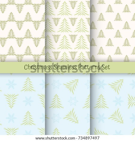 Six Christmas different seamless patterns. Texture for wallpaper, web page background, wrapping paper and etc. Retro style. Christmas tree and snowflakes