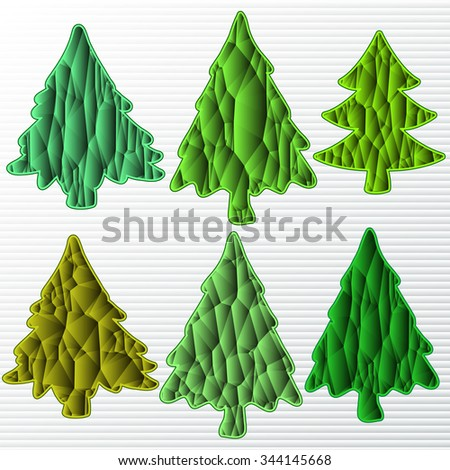 six Christmas tree on a white background - stock vector