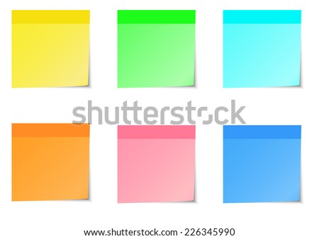 Six color of sticky notes and strip. A vector illustration. - stock vector