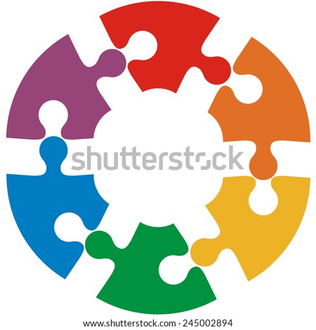 Six color puzzle circle. Vector illustration. - stock vector
