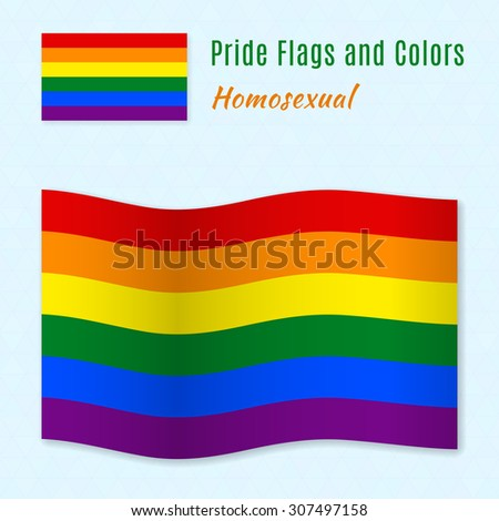Six-color rainbow gay pride flag with correct color scheme, both still and waving. Gay culture symbol.   - stock vector