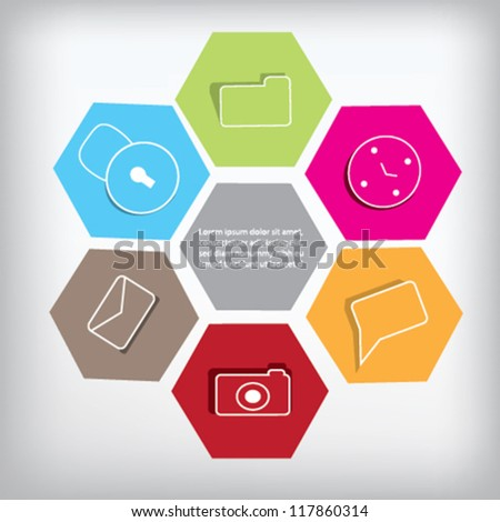 Six colored box with icons - stock vector