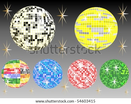 six colored mirror balls with black background