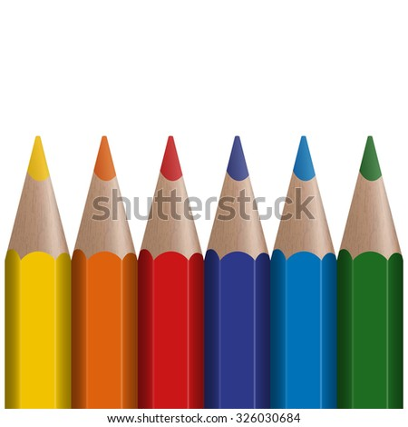 six colored pens in a row with white background - stock vector