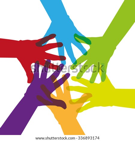 Six colorful hands touching together - illustration - stock vector