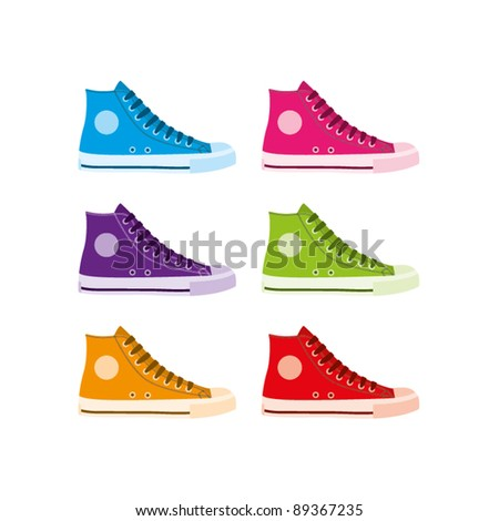 Six colourful vector hi-top sneakers on a white background - stock vector