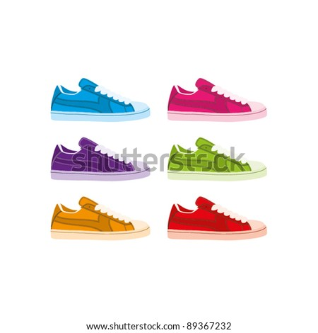 Six colourful vector shell-toe sneakers on a white background - stock vector