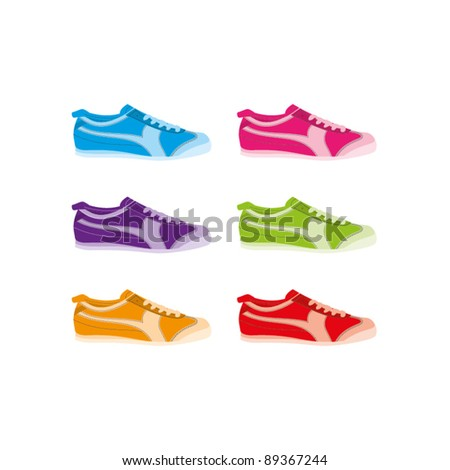 Six colourful vector sneakers on a white background - stock vector