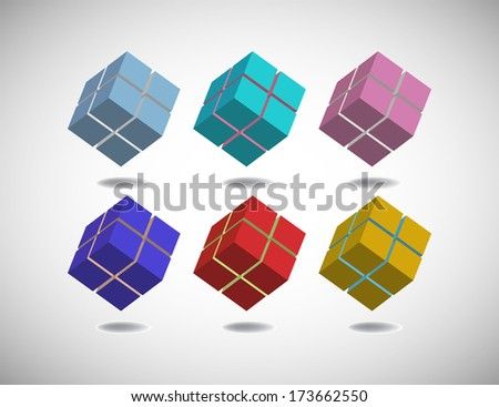 Six cubes colored in different colors isolated on a blank background