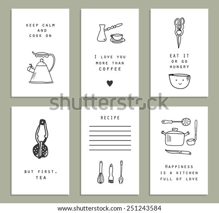 Six cute and funny cards.Kitchenware. Doodle set. Vector - stock vector