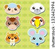 six cute cartoon animal head stickers - stock photo