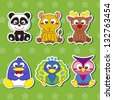 six cute cartoon animal stickers - stock photo