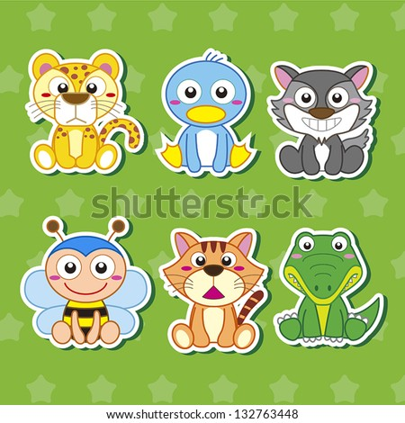 cartoon animal stickers in - photo #12