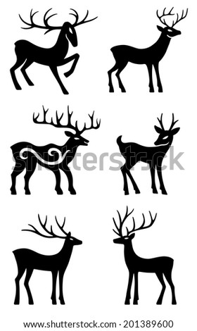 Six deer set silhouettes isolated on white background - stock vector