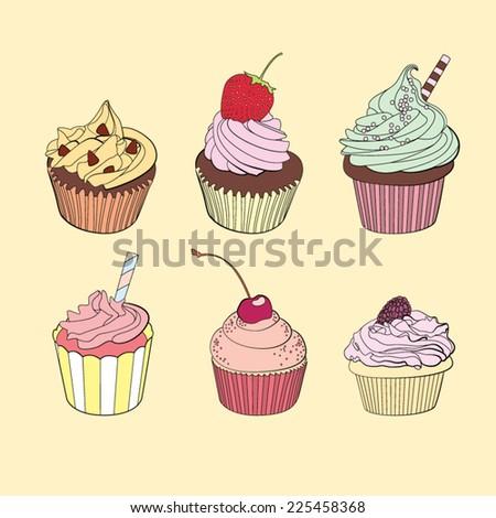 Six delicious yummy vector cupcakes - stock vector