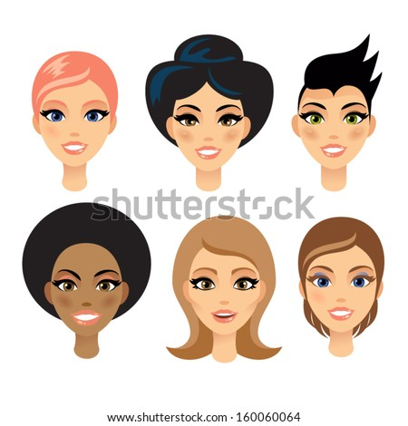 Six Different Beautiful woman With Six Different Faces - stock vector