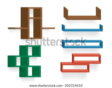 Six different colorful vector shelf designs - stock vector