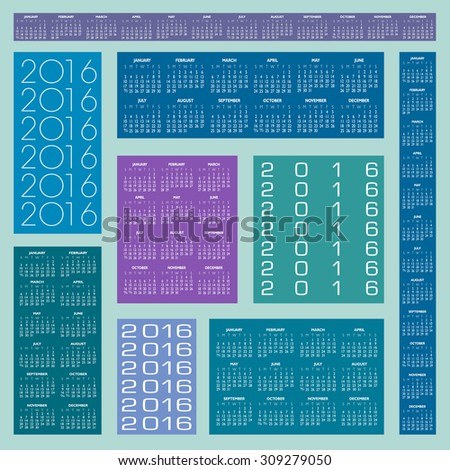 Six Different 2016 Creative Colorful Calendars in multiple configurations  - stock vector
