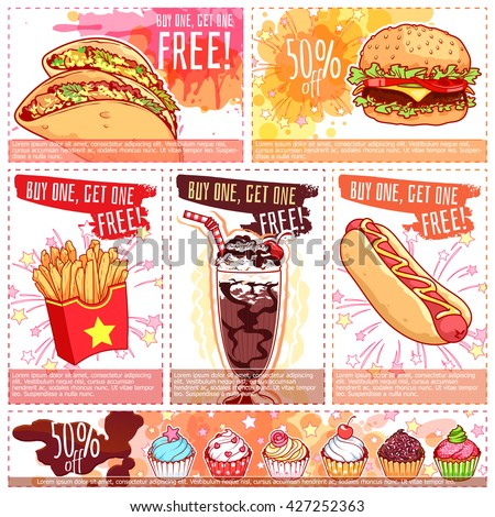 Six different discount coupons for fast-food or dessert. Vector template discount voucher isolated on a white background.