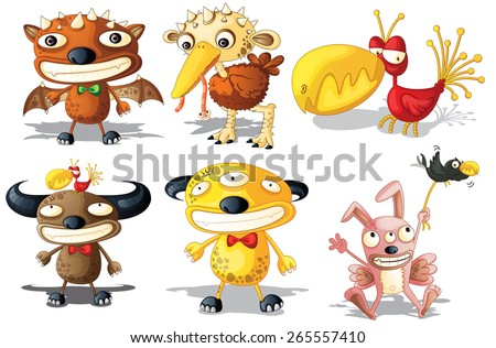 Six different monsters with funny looking - stock vector