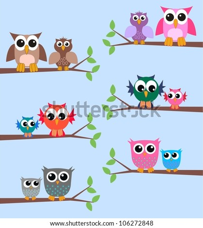 six different owl illustrations - stock vector
