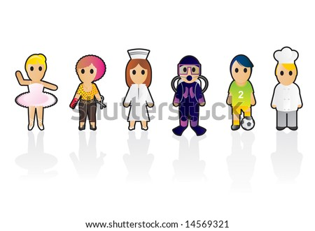 Six different professions (set 2) - stock vector