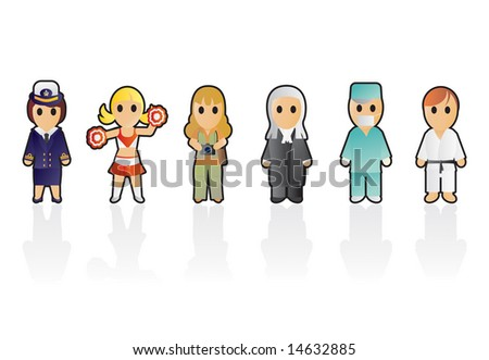 Six different professions (set 8) - stock vector