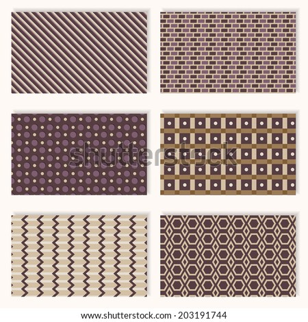 Six different seamless geometric patterns in brown and dark purple colors for background design, printing into fabric, paper or scrapbooking