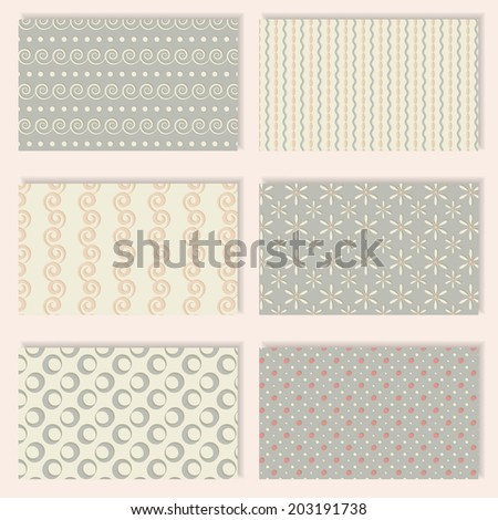 Six different seamless patterns in pastel colors for printing into fabric, paper or scrapbooking