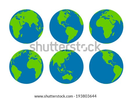 Six  Earth globes - stock vector