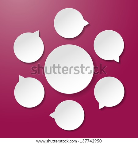 Six empty lifecycle paper labels on the purple background. - stock vector