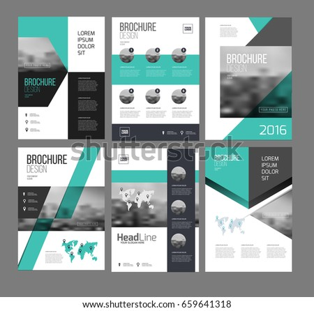 Lovely Six Flyer Marketing Templates With Photo, Text And Map. Sale Brochure Layout  Vector Set