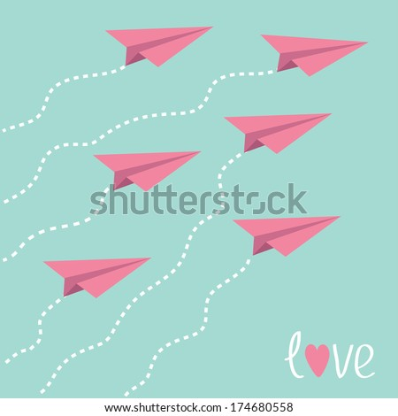 Six flying paper planes in the sky. Love card. Vector illustration. - stock vector