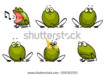 Six funny cheerful frogs - stock vector