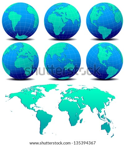 Six Global Worlds and Map - SET TWO - Vector Map of the World Globe on a white background - The base map is from Nasa and Hand drawn using the pen tool for maximum detail