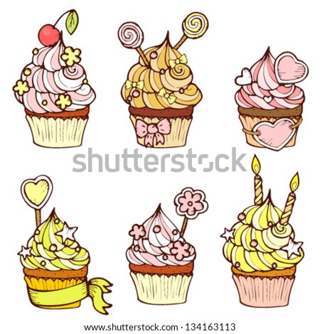 Six hand drawn cupcakes