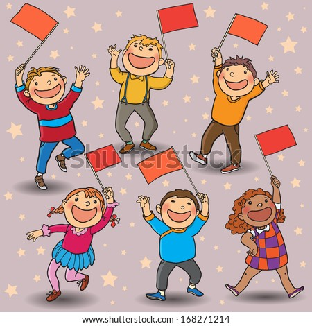 Six happy children with little RED flags walking together. Back to School isolated objects on white background. Great illustration for a school books and more. VECTOR. Editorial. Education. - stock vector