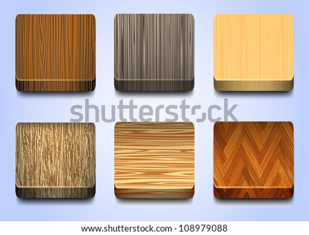 Six icons with wooden texture. Vector eps10 - stock vector